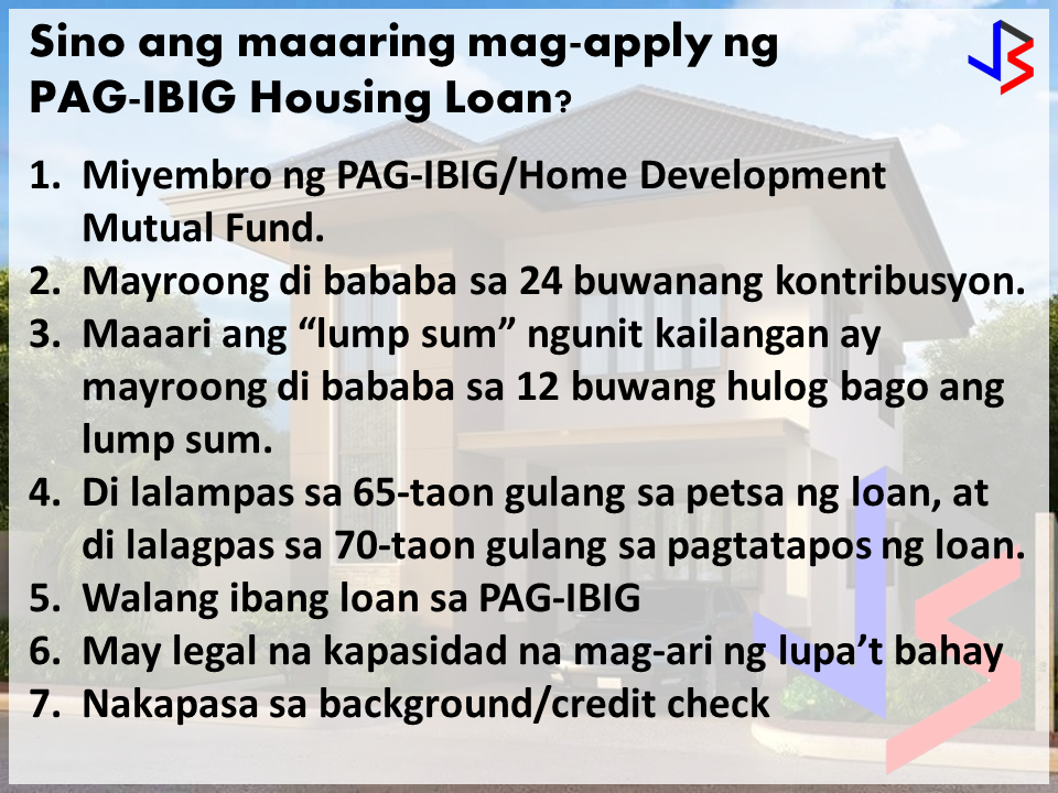 GOOD NEWS for prospective home-owners! The Housing Development and Mutual Fund, better known as the Pag-IBIG fund, has reduced the number of requirements needed to make a housing loan and they have also lowered their interest rates for minimum-wage earners. The changes are also applicable if you are planning to refinance an existing loan, or make a construction or improvement loan.  The new reduced requirements for a housing loan are listed below. These must be submitted upon application: Housing Loan Application Forms with recent ID photo of borrower/co-borrower (if applicable) (2 copies, HQP-HLF-068/069) Download the forms here and here and print back to back. Proof of Income, any of the following: Locally Employed Notarized Certificate of Employment and Compensation (CEC), indicating the gross monthly income and alll monthly allowances and monetary benefits. Latest Income Tax Return (ITR) for the year immediately preceding the date of loan application, with attached BIR Form No. 2316, stamped received by the BIR. Certified One (1) Month Payslip, within the last three (3) months prior to date of loan application NOTE: For government employees, the Certified One (1) Month Payslip must be submitted together with CEC or ITR. Self Employed, any of the following Proof/s of Income ITR, Audited Financial Statements, and Official Receipt of tax payment from bank supported with DTI Registration and Mayor's Permit/Business Permit Commission Vouchers reflecting the issuer's name and contact details (for the last 12 months) Bank Statements or passbook for the last 12 months (if income is sourced from foreign remittances, pensions, etc.) Copy of Lease Contract and Tax Declaration (if income is from rental payments) Certified True Copy of Transport Franchise issued by appropriate government agency (LGU for tricycles, LTFRB for other PUVs) Certificate of Engagement issued by owner of business Other document that would validate source of income For Overseas Filipino Workers (OFW), any of the following: Employment Contract between employee and employer; or   POEA Standard Contract Certificate of Employment and Compensation (CEC) written on the Employer/Company's official letterhead; or signed by employer (for household staff and similarly situated employees - supported by a photocopy of the employer's ID or passport) Income Tax Return filed with Host Country/Government (in English)  One (1) valid ID (Photocopy, back-to-back) of Principal Borrower and Spouse, Co-Borrower and Spouse, Seller and Spouse and Developer's Authorized Representative and Attorney-In-Fact, if applicable Transfer Certificate of Title (TCT) (latest title, Certified True Copy). For Condominium Unit, present TCT of the land and Condominium Certificate of Title (CCT) (Certified True Copy). Updated Tax Declaration (House and Lot) and Updated Real Estate Tax Receipt (photocopy) Contract-to-Sell or similar agreement between the buyer and seller Vicinity Map/Sketch of the Property  The Following Eligibility Requirements Still Applies: Pag-IBIG Membership To qualify for a loan, a person must be a member of Pag-IBIG with at least twenty-four (24) months contribution at the time of loan application. A member with less than 24 contributions can make a lump sum payment to meet the said requirement at point of loan application provided he has been a contributing member of the Fund for at least twelve (12) months. A member whose loan exceeds P500,000.00 is required to pay the upgraded membership contribution rates upon housing loan approval and onwards. Not more than sixty-five (65) years old at the date of loan application and must be insurable; provided further that he is not more than seventy (70) years old at loan maturity; Has the legal capacity to acquire and encumber real property; Has passed satisfactory background/credit and employment/business checks of the Pag-IBIG Fund; Has no outstanding Pag-IBIG housing loan, either as a principal borrower or co-borrower;  However, should a co-borrower in a tacked loan signify an intention to avail of a Pag-IBIG housing loan for himself, he shall be allowed to do so provided the tacked loan is updated and the amount proportionate to his loan entitlement has been fully paid. Hence, the co-borrower shall be released from the original obligation and shall be allowed to avail of his own Pag-IBIG housing loan, subject to standard evaluation procedures. Had no Pag-IBIG housing loan that was foreclosed, cancelled, bought back due to default, or subjected to dacion en pago, which shall include cases where the borrower is no longer interested to pursue the loan and surrenders the property; Has no outstanding Pag-IBIG multi-purpose loan in arrears at the time of loan application. A member whose multi-purpose loan is in arrears shall be required to pay his arrearages over the counter to update his account.  REQUIRED DOCUMENTS PRIOR TO LOAN RELEASE TCT/CCT in the name of the borrower/co-borrower/s (if applicable) with proper mortgage annotation in favor of Pag-IBIG Fund (Owner's Duplicate Copy) TCT/CCT in the name of the borrower/co-borrower/s (if applicable) (Certified True Copy) with proper mortgage annotation in favor of Pag-IBIG Fund (RD's copy) Updated Tax Declaration (House and Lot) and Updated Real Estate Tax Receipt (Photocopy) in the name of the borrower/co-borrower/s, if applicable Loan Mortgage Documents Loan and Mortgage Agreement duly registered with Registry of Deeds with original RD stamp (HQP-HLF-162/163) Deed of Absolute Sale duly registered with Registry of Deeds with original RD stamp Duly accomplished/notarized Promissory Note (HQP-HLF-086/087) Disclosure Statement on Loan Transaction (HQP-HLF-085)  sources: Pag-IBIG