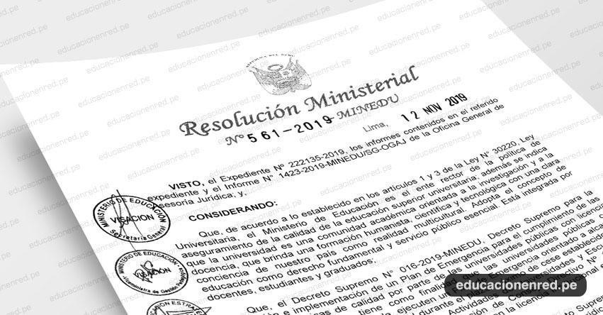 R. M. N° 561-2019-MINEDU - Confórmese la Comisión Técnica encargada de la elaboración del Plan de Emergencia orientado a alcanzar las condiciones básicas de calidad por parte de la Universidad Nacional San Luis Gonzaga - UNICA