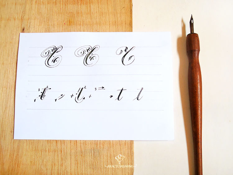 caligrafia copperplate letra t aprender abecedario