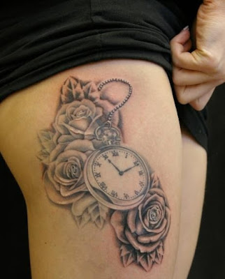 Awesome thigh tattoos clock and roses today