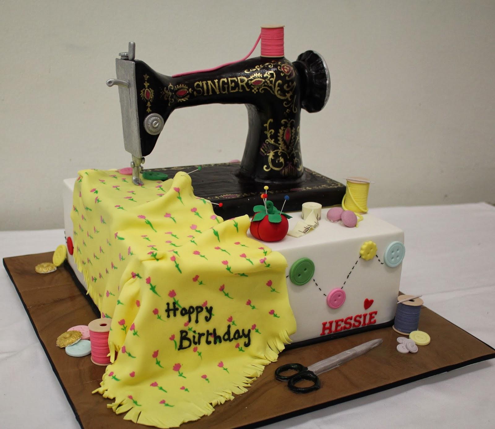 Happy Birthday Sewing Machine Cake