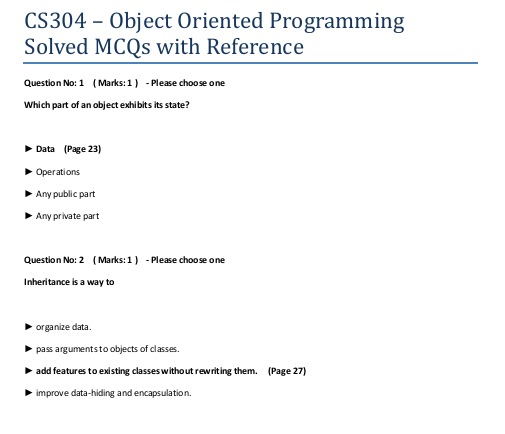 CS304 Solved MCQs with Reference Sample Page