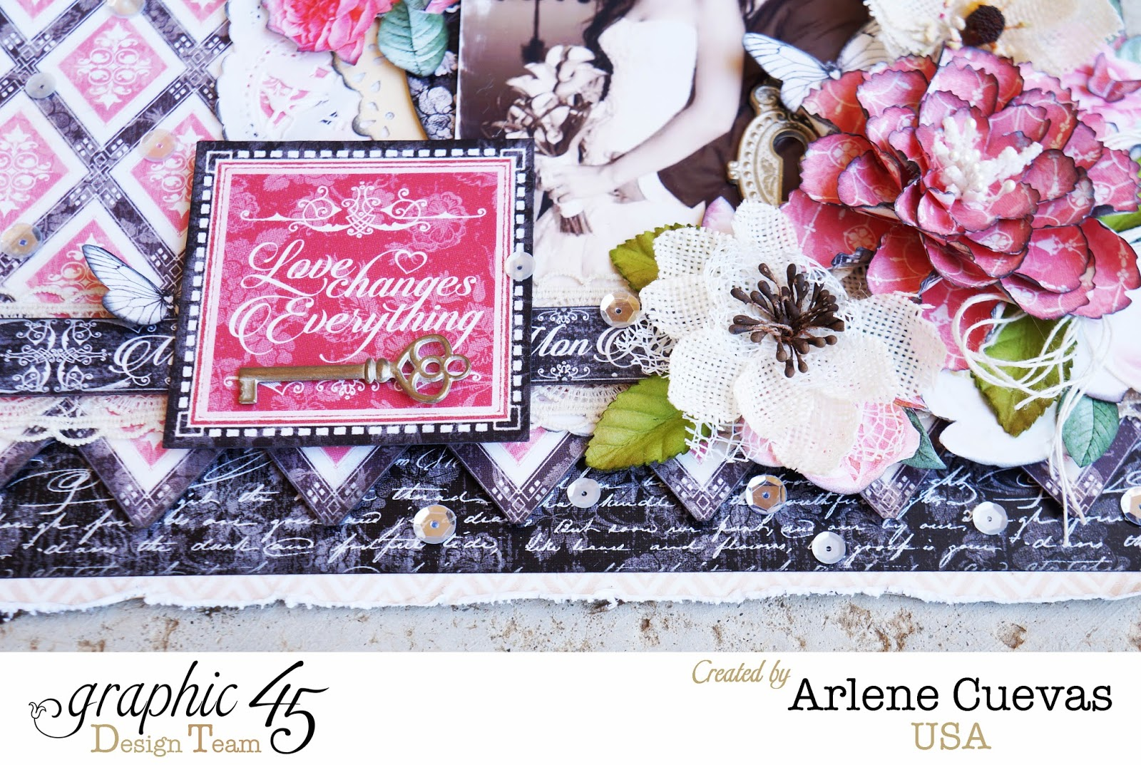 Butterfly Kisses & Paper Pretties: Wedding Layout featuring Graphic 45's new Mon Amour collection!