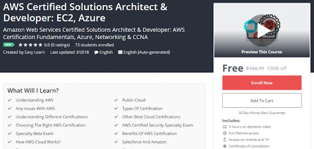[100% Off] AWS Certified Solutions Architect & Developer: EC2, Azure| Worth 184,99$