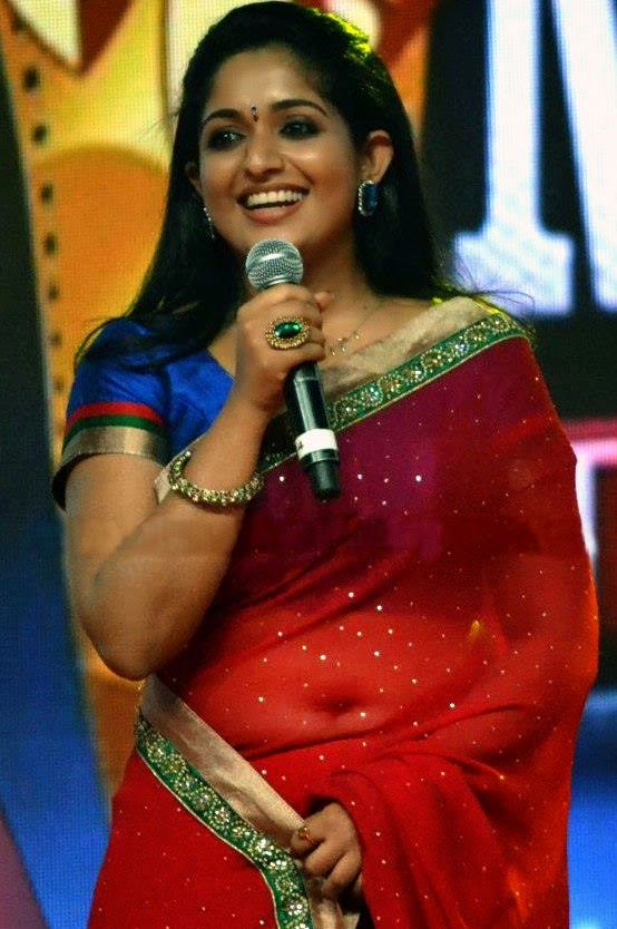 Kavya Madhavan Hot Navel Photos In Red Saree In Award Function