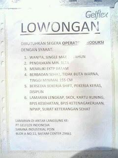 Lowongan Kerja PT. Gelflex Indonesia
