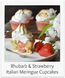 These Rhubarb & Strawberry Meringue Cupcakes are a delicious and pretty twist on the classic Lemon Meringue Pie.  The slightly sharp curd filling contrasts beautifully with the sweet marshmallowy Italian meringue.