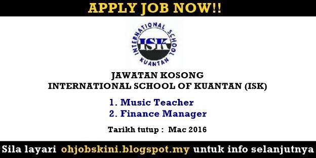 Jawatan Kosong International School of Kuantan (ISK)