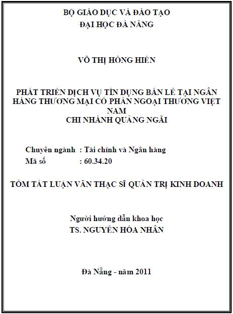 Phát triển dịch vụ tín dụng bán lẻ tại ngân hàng thương mại cổ phần ngoại thương Việt Nam chi nhánh Quảng Ngãi