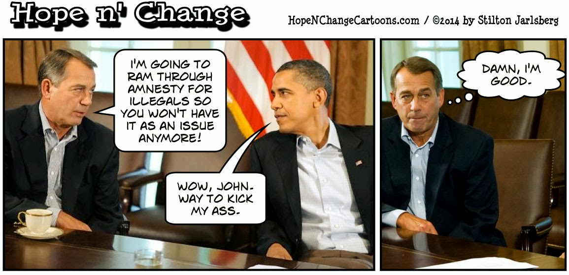 obama, obama jokes, cartoon, humor, boehner, immigration, amnesty, illegals, conservative, hope n' change, hope and change, tea party, stilton jarlsberg