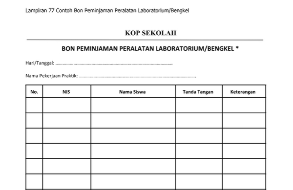 Contoh Bon Peminjaman Peralatan Laboratorium Bengkel.docx