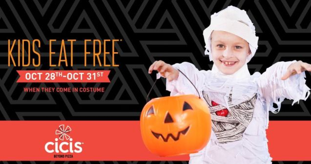 kids eat free cicis pizza oct 28th oct 31st 2016 when they come in costume enjoy a free kids meal for halloween just click the link below to go to the