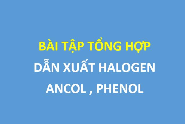 Bài tập tổng ôn chương 8 hóa 11 - dẫn xuát halogen , ancol , phenol