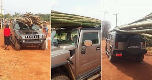 Viral Photos of Hummer Jeep Used To Transport Bamboo Sticks