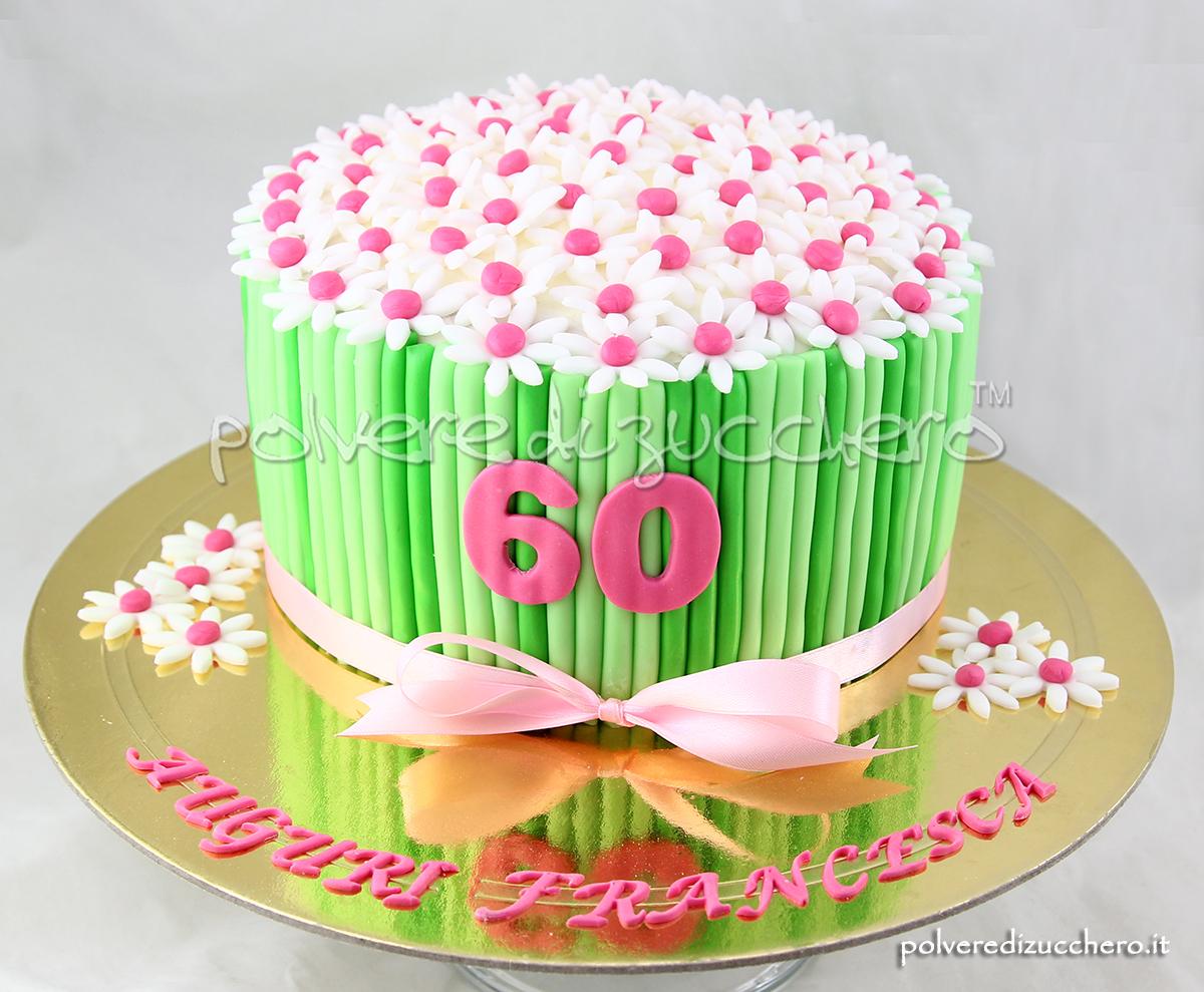 torta decorata bouquet margherite pasta di zucchero cake design 60 compleanno polvere di zucchero