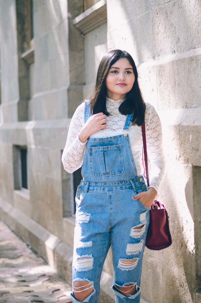 Ripped Denim Overalls with Lace top