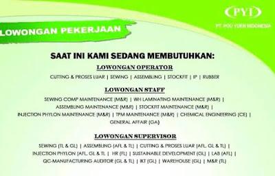 Informasi Lowongan PT. POU YUEN INDONESIA CIANJUR 2020
