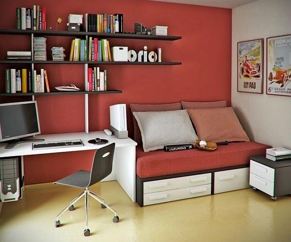 dormitorio juvenil rojo gris