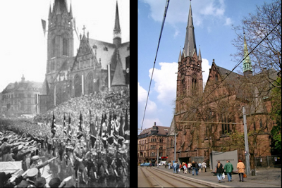 Nazis marching past the Johanneskirche