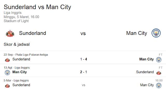 Prediksi Skor Sunderland vs Manchester City | Polisibola.com