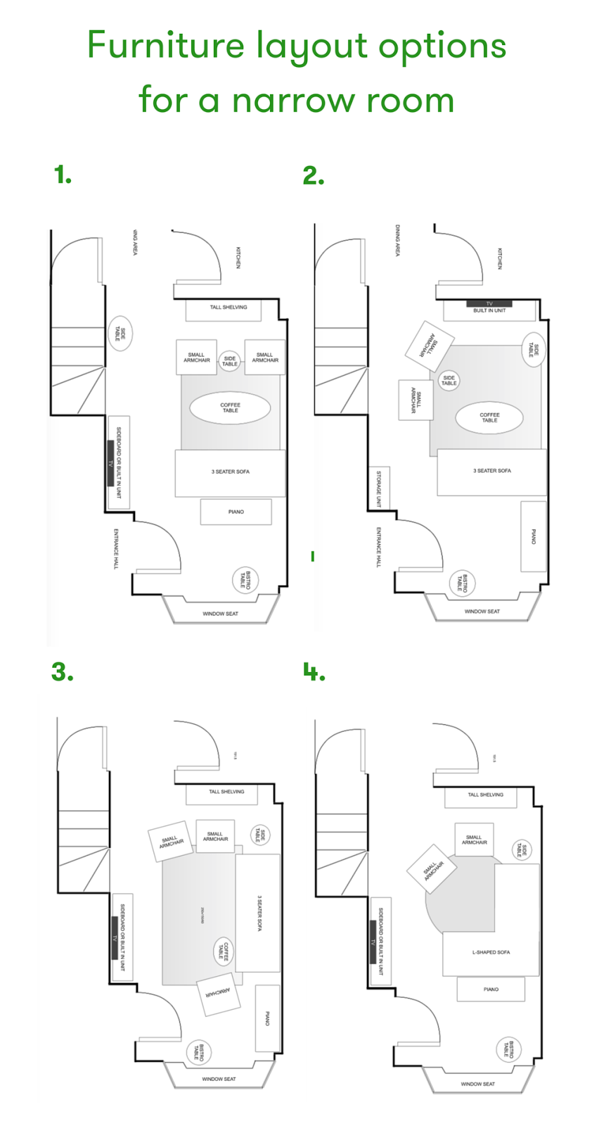 How to layout a narrow living room | Design Seeker