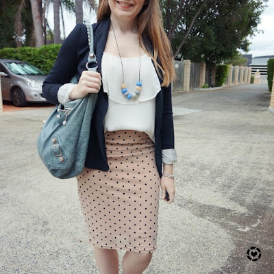 awayfromblue instagram office outfit polka dot pencil skirt, jersey blazer and white ruffle cami