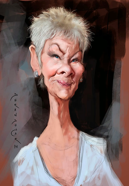 """Caricatura de """"Judi Dench"""" por Durán Andújar"""