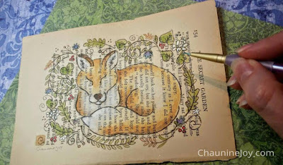 Artist Chaunine Joy Welcome Spring Fox Original Watercolor Book Page