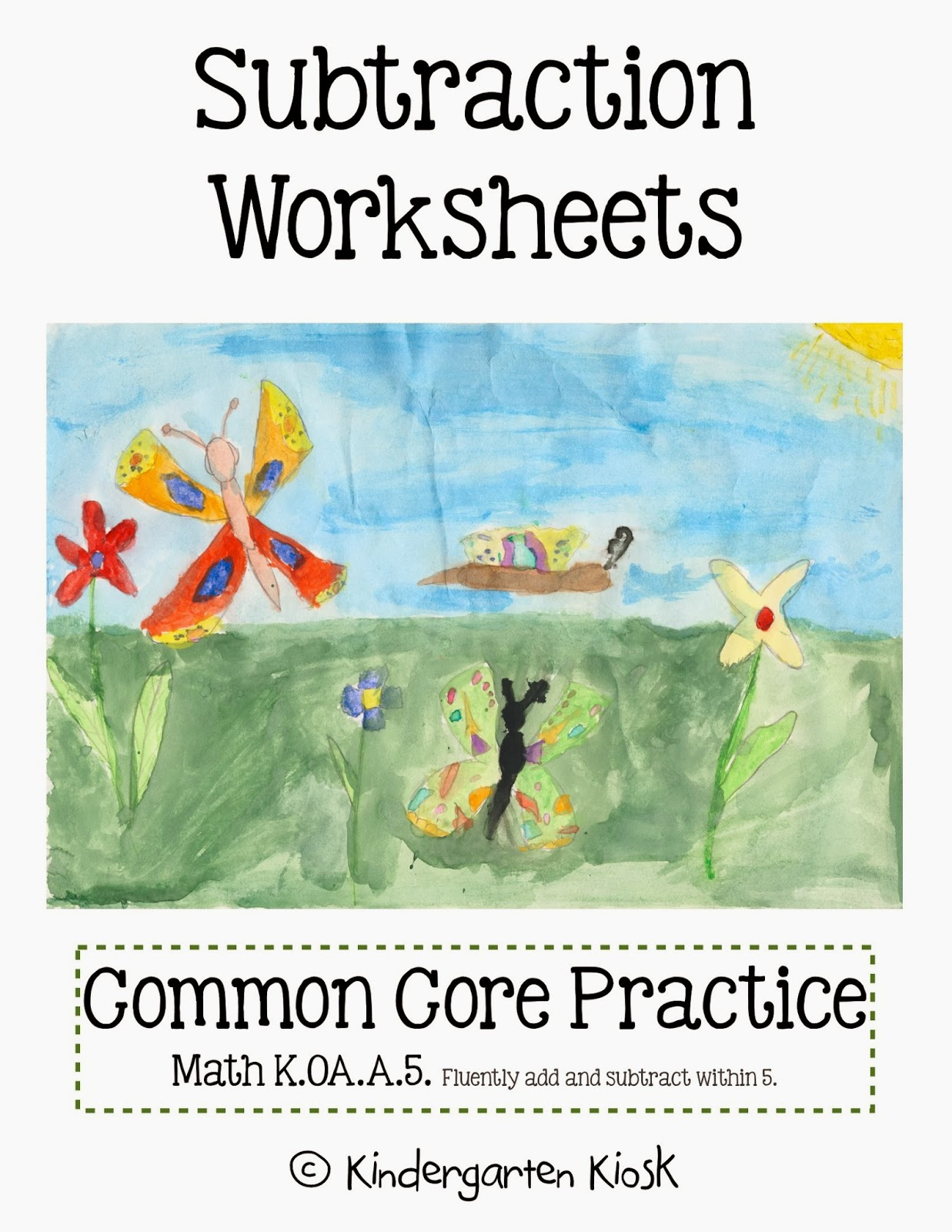 Kindergarten Kiosk Subtraction Worksheets
