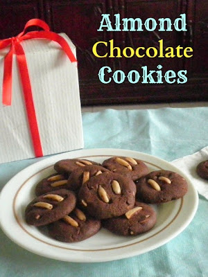 Almond Chocolate Cookies Recipe @ treatntrick.blogspot.com