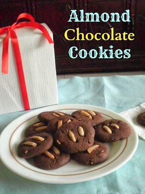 Almond Chocolate Cookies Recipe @ treatntrick.blogspot.com