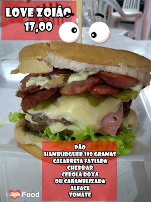 love zoião lanche com hamburguer de 180 gramas