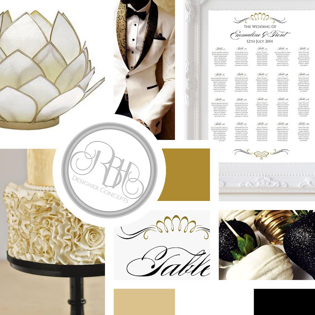 Gold White Black Art Deco Elegant Mood Board
