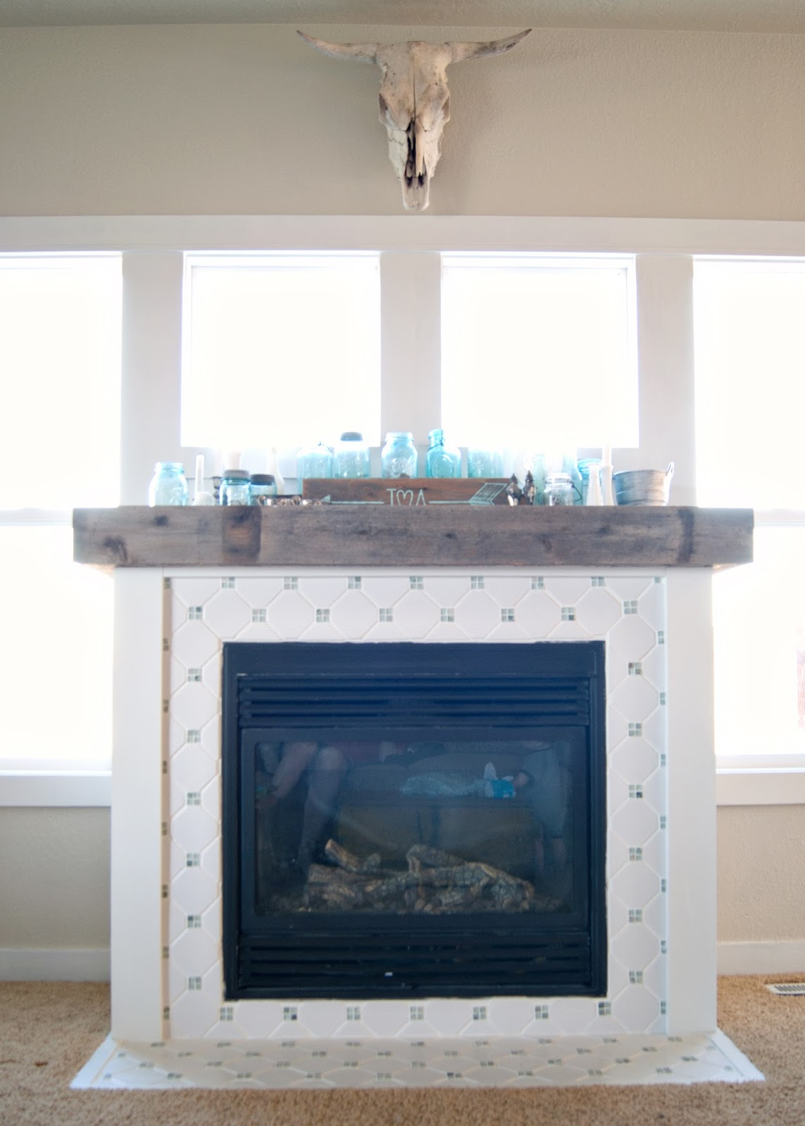 how much to paint living room grey and turquoise fireplace makeover : the final reveal | averie lane ...