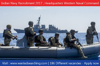 Indian Navy Recruitment 2017 , Headquarters Western Naval Command –  186 Different vacancies - Apply now