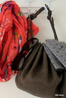 Close-up of LoveLea's leather drawstring bag; pattern by Y Eduri