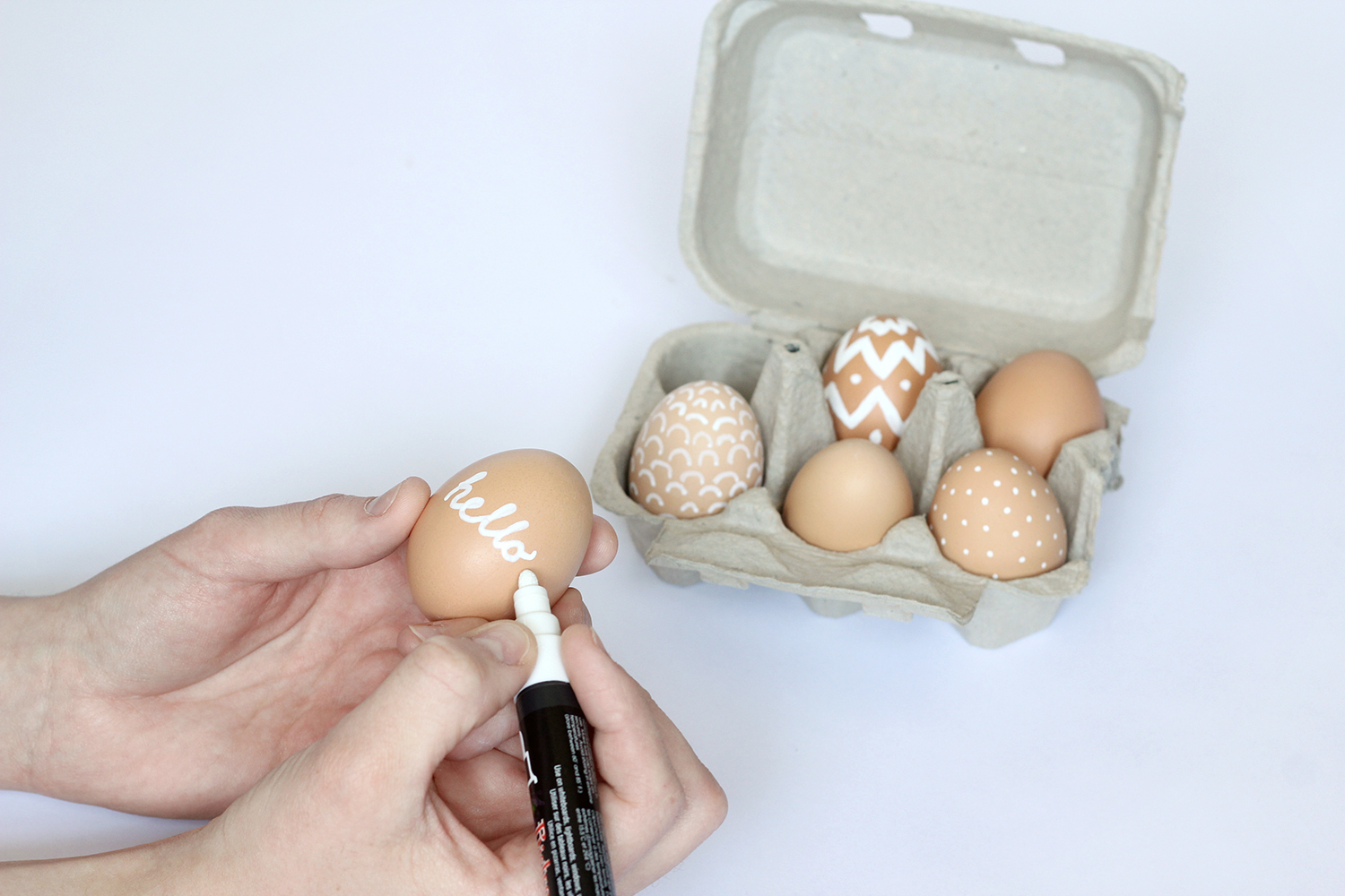 Non-toxic Easter eggs: Chalk pen does the trick again!