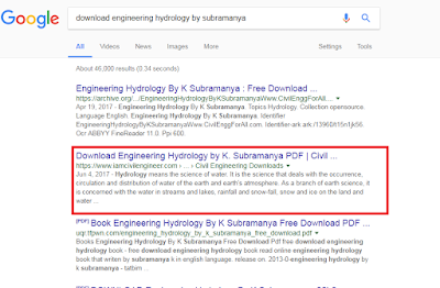 Google SERP for Download Engineering Hydrology by Subramanaya