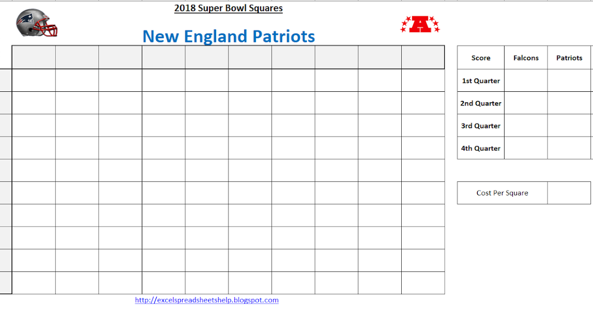 Excel Spreadsheets Help Super Bowl Squares Template 2018