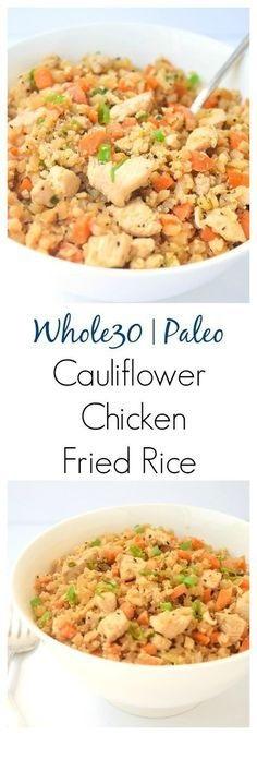 Whole30 Cauliflower Chicken Fried Rice