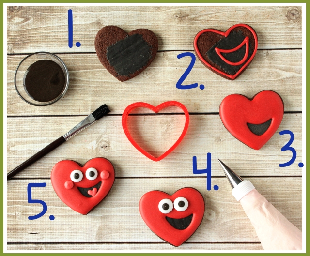 Make decorated happy heart cookies for Valentine's Day ~tutorial