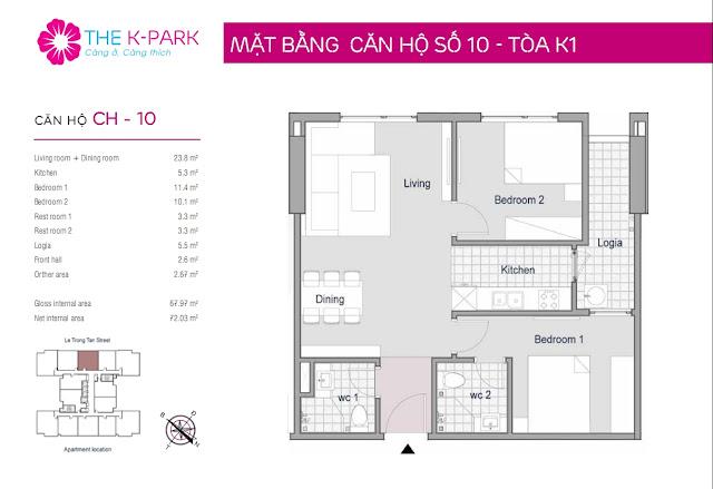 Thiết kế căn hộ 10 - Dt 67m2 - 02 phòng ngủ