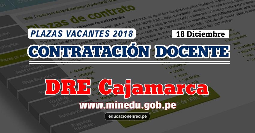 DRE Cajamarca: Plazas Vacantes Contrato Docente 2018 (.PDF) www.educacioncajamarca.gob.pe
