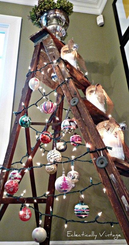 A Treeless Ladder Christmas Tree Day 10 Funky Junk