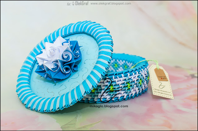 544. Szkatułka niebieska z origami / 3d origami blue box