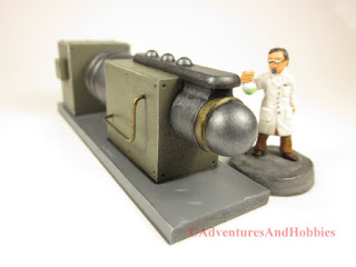 Miniature mad science laboratory scenery piece T2312 for 25-28mm scale table top wargames - left end view.