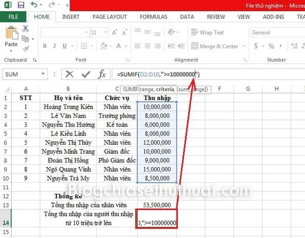 Tổng hợp thống kê bằng cách sử dụng hàm SUMIF trong Excel