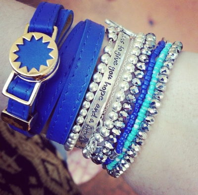 Away From Blue silver beaded bracelet stack House of Harlow Cobalt Sunburst wrap