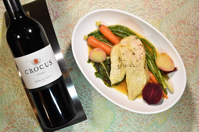 Crocus l'Atelier Malbec de Cahors with Château de Mercuès Chicken in Saffron Broth with Vegetables