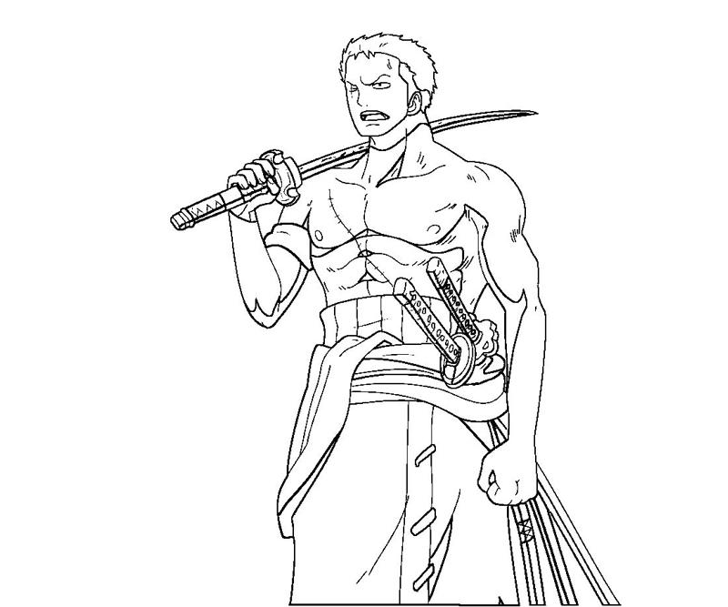 one piece zoro  free colouring pages